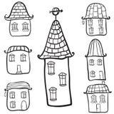 Häuser des Gekritzelhandabgehobenen betrages Stock Abbildung