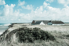 Häuser durch das Meer in einer wilden Landschaft Lizenzfreie Stockfotos
