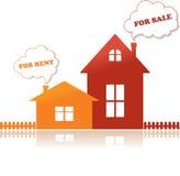 Häuser für Verkauf und für Miete stock abbildung