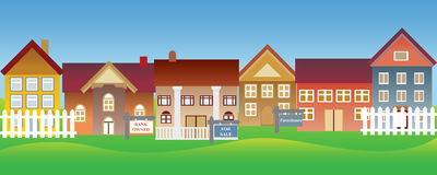 Häuser für Verkauf und gerichtliche Verfallserklärung Stockbild