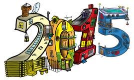 Häuser in Form von Zahlen im Jahre 2015 Lizenzfreie Stockbilder