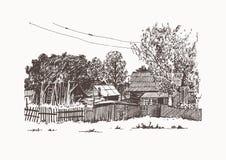 Häuser im Dorf stock abbildung