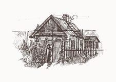 Häuser im Dorf lizenzfreie abbildung