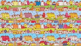 Häuser im Stadtlustigen Hintergrund Stockfoto