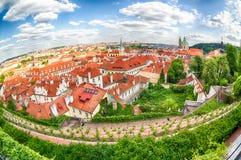Häuser mit traditionellen roten Dächern und Bäume in Bezirk Prags Mala Strana in der Tschechischen Republik Fisch-Auge Objektiv Lizenzfreie Stockfotos