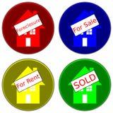 Häuser mit Zeichen Lizenzfreies Stockbild