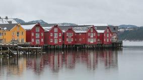 Häuser in Namsos, Norwegen lizenzfreie stockbilder
