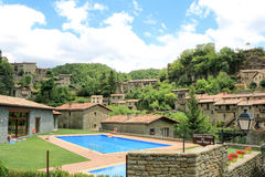 Häuser in Rupit (Spanien) Stockfotografie