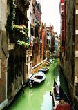 Häuser und Boote Stockfotografie