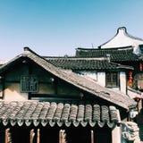Häuser und Dachspitze Stockfotos