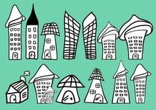 Häuser und Gebäudekarikaturikone vector Illustration, die Haupthand, die in Schwarzweiss gezeichnet wird stock abbildung