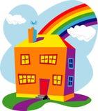 Häuser und Regenbogen Stockfotos
