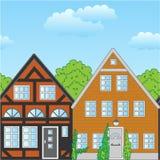 Häuser und Wolken Lizenzfreies Stockfoto