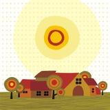 Häuser unter der steigenden Sonne Stockfotos
