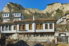 Häuser vom 19. Jahrhundert in der Stadt von Melnik, Bulgarien Lizenzfreies Stockbild