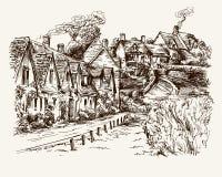 Häuser von Arlington rudern im Dorf von Bibury, England vektor abbildung