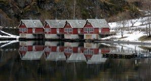 Häuser von Flam, Norwegen Lizenzfreies Stockbild