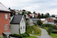 Häuser von Tromso Stockfotografie
