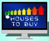 Häuser, zum der Darstellung der Illustration des Verkaufs-Eigentums-zu kaufen 3d Stockbild