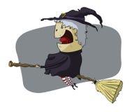 Häxa i broomstick Stock Illustrationer