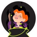 Häxa och magikittel royaltyfri illustrationer