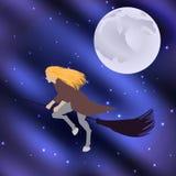Häxa på en kvastskaft som flyger den halloween feriemånen i den stjärnklara himlen Royaltyfri Fotografi