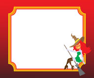 Häxa på en vykort för allhelgonaafton Royaltyfria Foton