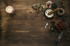 Häxadoktor shaman witchcraft Magisk tabell alternativt magasin för brunnsort för medicin för objekt för ginkgo för bambubadbiloba Royaltyfri Fotografi