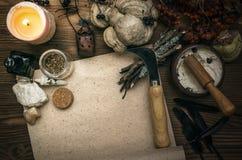 Häxadoktor shaman witchcraft Magisk tabell alternativt magasin för brunnsort för medicin för objekt för ginkgo för bambubadbiloba Arkivbilder