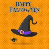 Häxahatt- och spindelillustration på apelsinen BG Arkivfoto