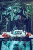 Häxan berättar magiska ord till koltrasten Royaltyfri Foto