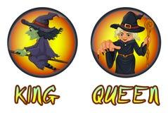 Häxor på runda emblem stock illustrationer