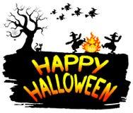 Häxor som dansar runt om branden på halloween Royaltyfria Bilder