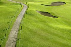 hål för kull för green för gräs för kursfältgolf Arkivfoton