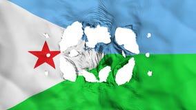 Hål i den Djibouti flaggan stock illustrationer