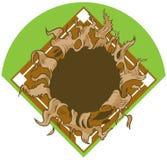 Hål som river sönder ut ur baseball Diamond Vector Cartoon Clip Art Arkivfoto