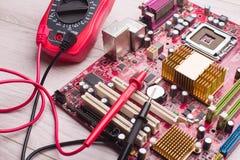 Hålighet för installation av processorn i brädet arkivfoto