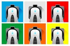 Håligheter för elbilfärguppladdare Arkivfoto