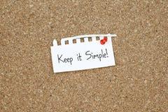Håll det det enkla enkelhetsbegreppet Arkivfoton