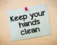 Håll dina händer rena Arkivbild
