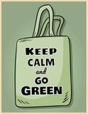 Håll stillhet och gå grön Motivational uttrycksaffisch Ekologisk och noll-avfalls produkt G?r den gr?na uppeh?llet vektor illustrationer