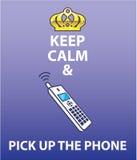 Håll stillhet och välj upp telefonvektorn Arkivbild