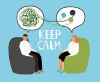 Håll stillhet, psykiatern som lyssnar och råder patienten royaltyfri illustrationer