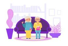 Hålla ögonen på en film hemma vektor cartoon Isolerad konst på vit bakgrund stock illustrationer