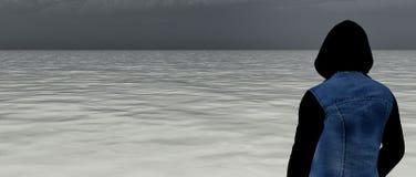 Hålla ögonen på ett grått hav Arkivfoton