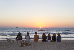 Hålla ögonen på solnedgången i Goa Fotografering för Bildbyråer