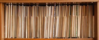 Hålla rekord på bruna hyllor, affär Royaltyfria Foton