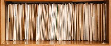 Hålla rekord på bruna hyllor, affär Fotografering för Bildbyråer