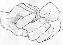 Hållande åldringhand - blyertspennan skissar Arkivbild