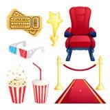 Hållande ögonen på film- och bioteater, uppsättning för beståndsdelar för vektortecknad filmdesign Biljetter popcorn, röd fåtölji stock illustrationer